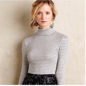 Anthropologie Postmark Ribbed Gray Turtleneck Top